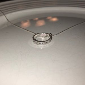 Silver Helzberg promise ring with chain